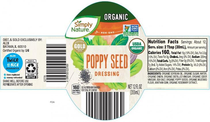 Aldi Simply Nature Organic Poppy Seed Dressing Recalled For Botulism