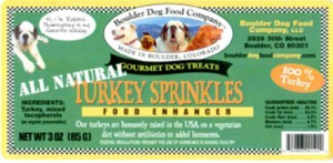 Boulder Dog Food Company Turkey Sprinkles Salmonella Recall