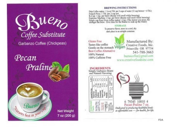 Bueno Coffee Substitute Recalled For Undeclared Peanuts and Hazelnuts