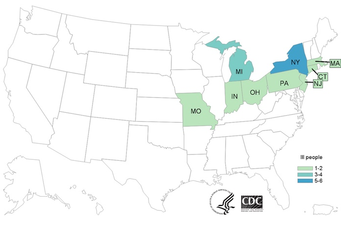 Dole Salad Listeria Outbreak Case Map
