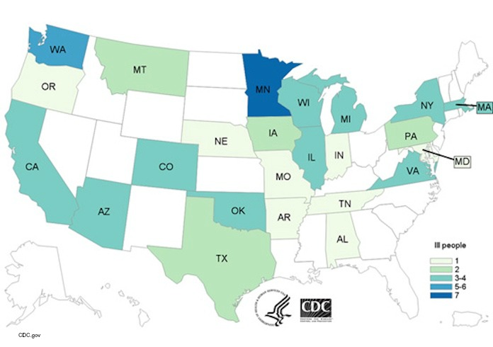 General Mills E. coli Outbreak Map 93016