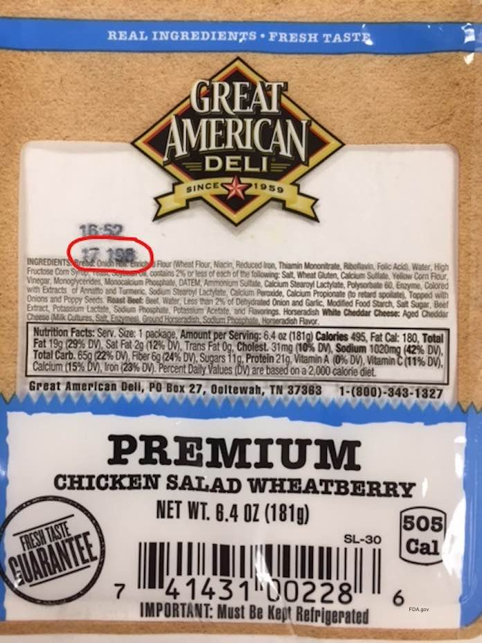 Great American Deli Chicken Sandwich Recall