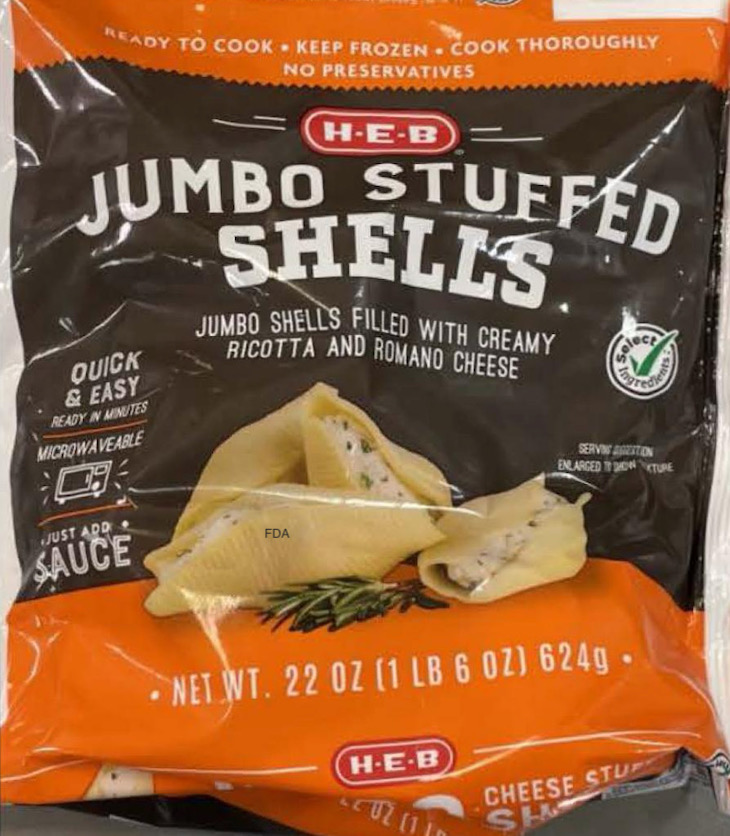 HEB Jumbo Stuffed Shells Recalled For Foreign Material