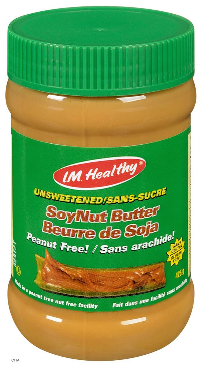 I.M. Healthy Unsweetened SoyNut Butter Recall