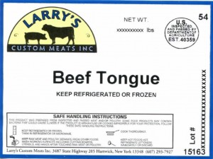 Larry's Beef Tongue BSE Recall
