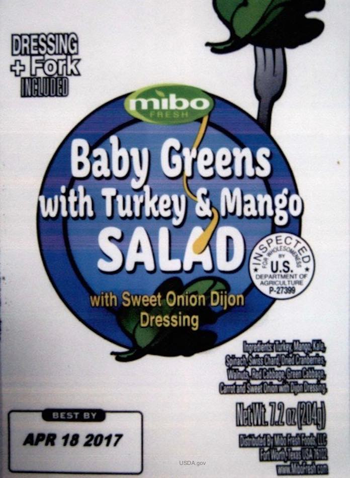 Mibo Baby Greens Turkey Salad Recall