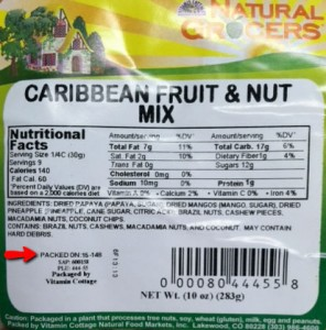 Natural Grocers Caribbean Fruit & Nut Mix Salmonella recall