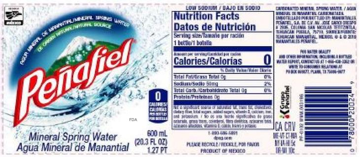 Peñafiel Unflavored Mineral Spring Water Recalled For Arsenic