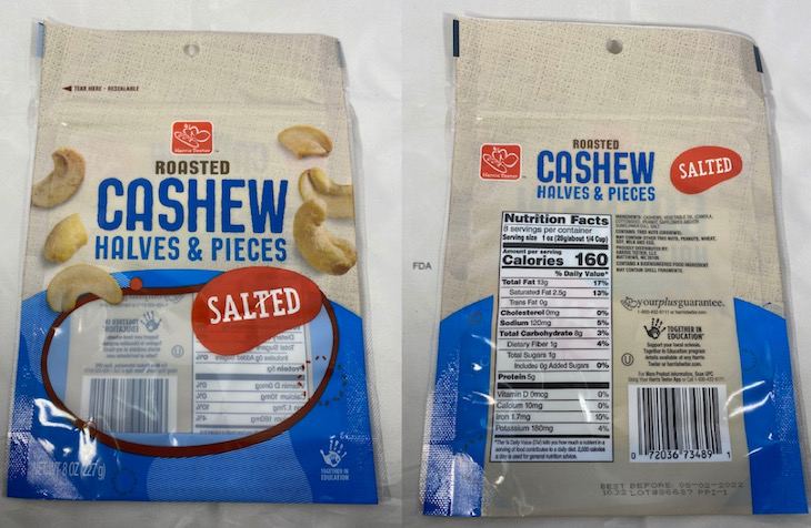Roasted Cashews and Trail Mix Recalled For Foreign Material
