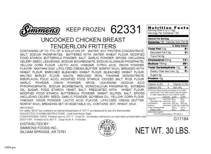 Simmons Chicken Recall