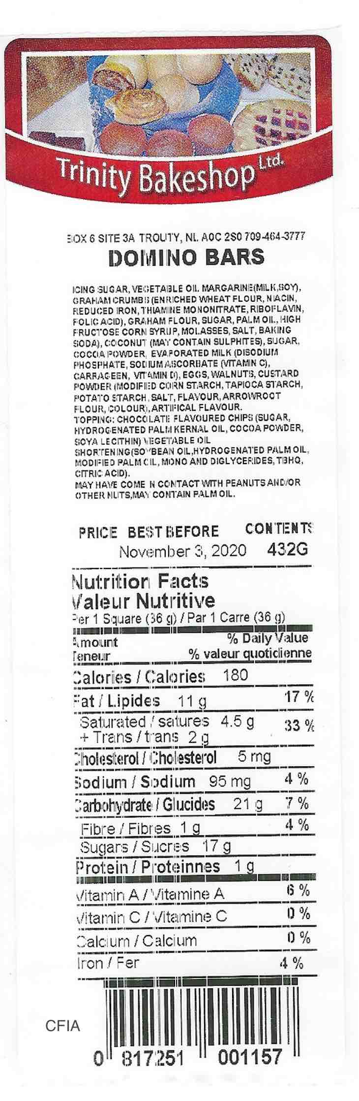 Trinity BakeShop Products Recalled in Canada For Salmonella