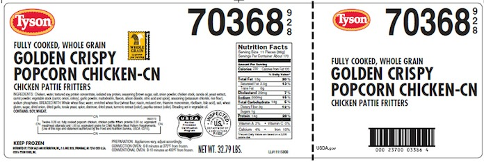 Tyson Popcorn Chicken Foreign Material Recall