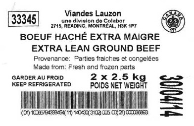 Viandes Lauzon Ground Beef Recall for E. coli O157