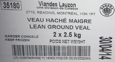 Viandes Lauzon Ground Veal Recall