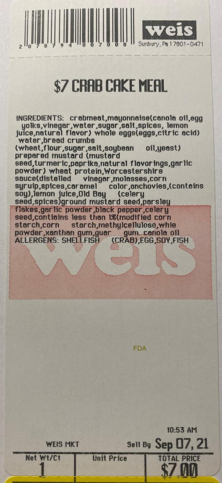 Weis Markets Crab Cake Meal Recalled For Undeclared Milk