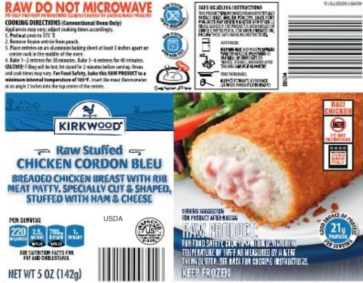 Where Were Milford Valley Kirkwood Stuffed Chicken Products Sold?
