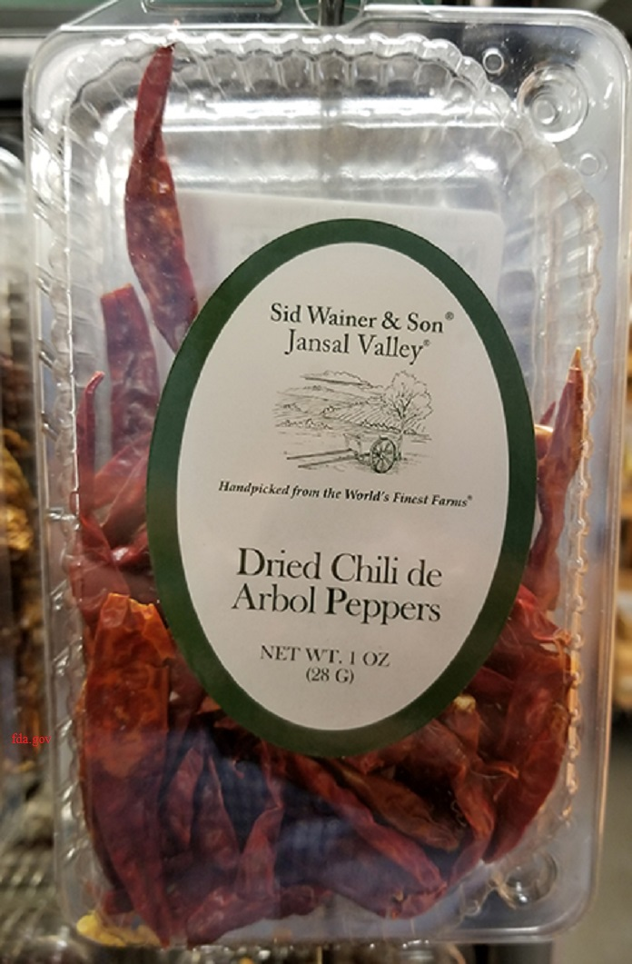 recall of dried chili de arbol peppers