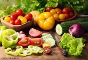 various fresh vegetables on cutting board