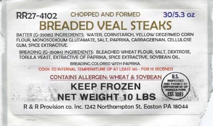 Breaded Veal Steaks Recall