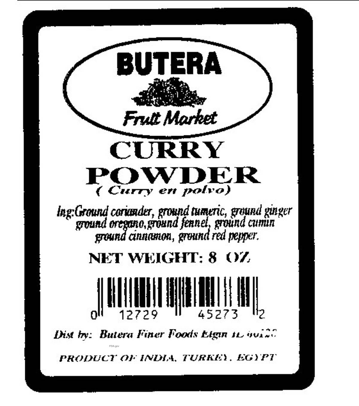 Butera Curry Powder Lead Contamination