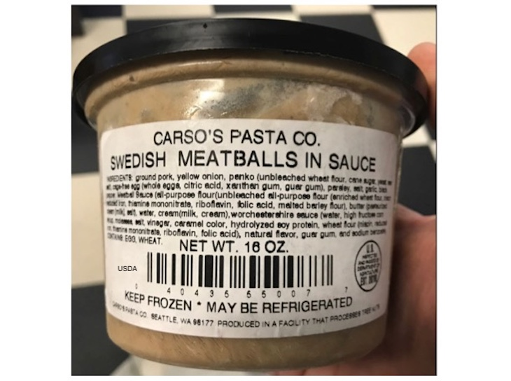 Public Health Alert Issued For Carso's Pasta Swedish Meatballs