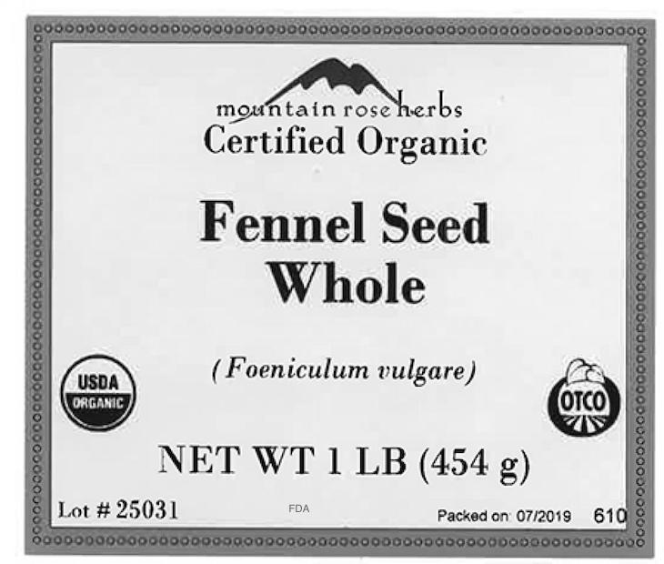 Mountain Rose Herbs Fennel Recalled For Possible Salmonella