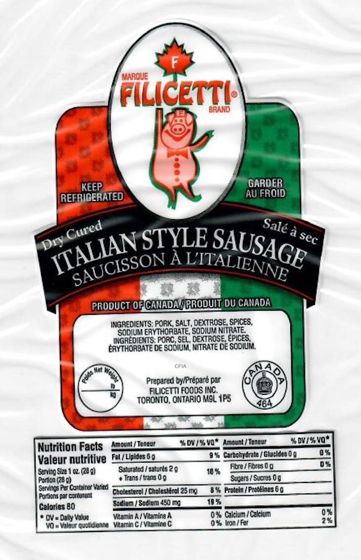 Salmonella Outbreak Linked to Filicetti Dry Sausages in Canada