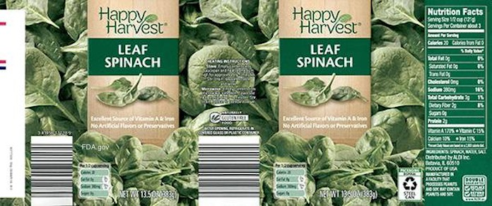 Happy Harvest Canned Spinach Peanut Recall