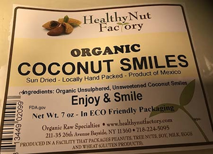 Healthy Nut Factory Organic Dried Coconut Smiles Salmonella Recall