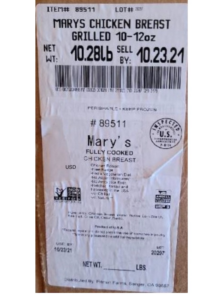 Mary's Fully Cooked Chicken Breast Is Undercooked and Is Recalled