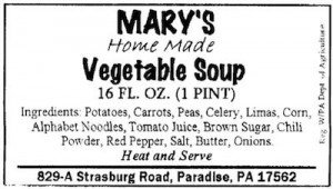 Mary's Vegetable Soup Botulism Recall