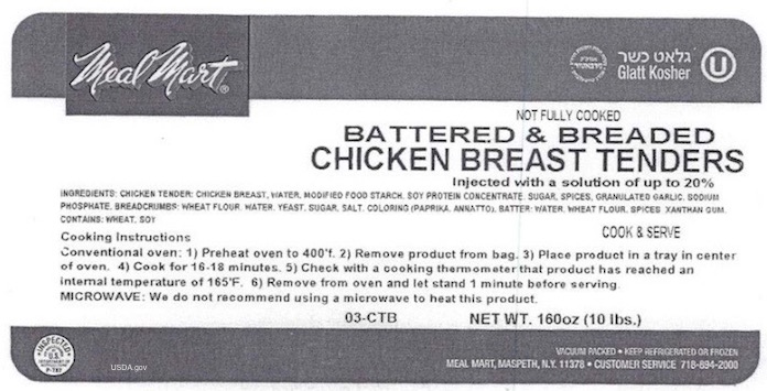Meal Mart Chicken Tenders Recall