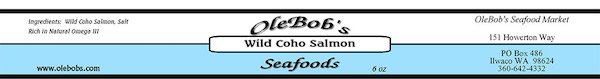 OB label wild coho salmon 6oz