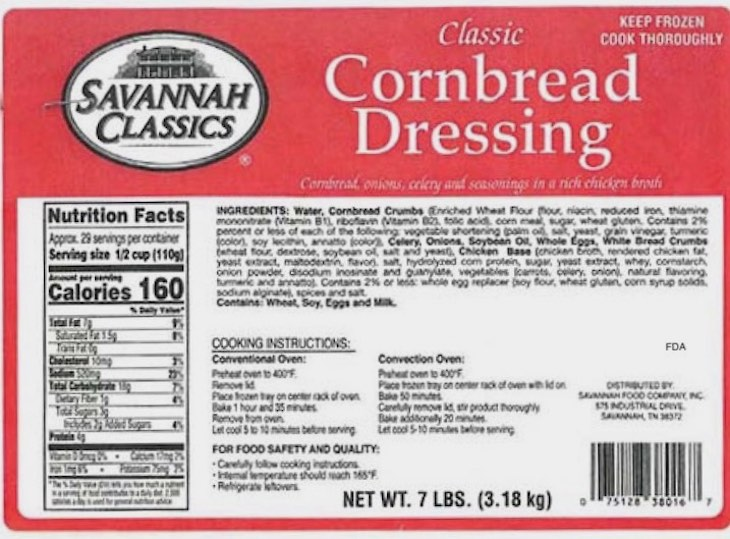 Savannah Classics Cornbread Dressing Recalled For Possible Listeria