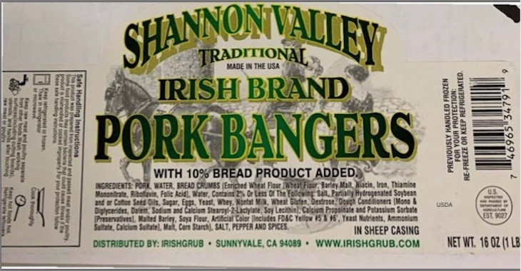 Shannon Valley Irish Brand Pork Bangers Recalled
