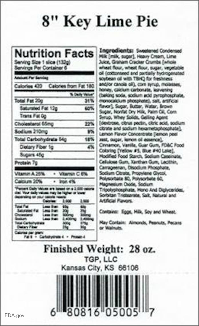 Tippin's Key Lime Pie Recall