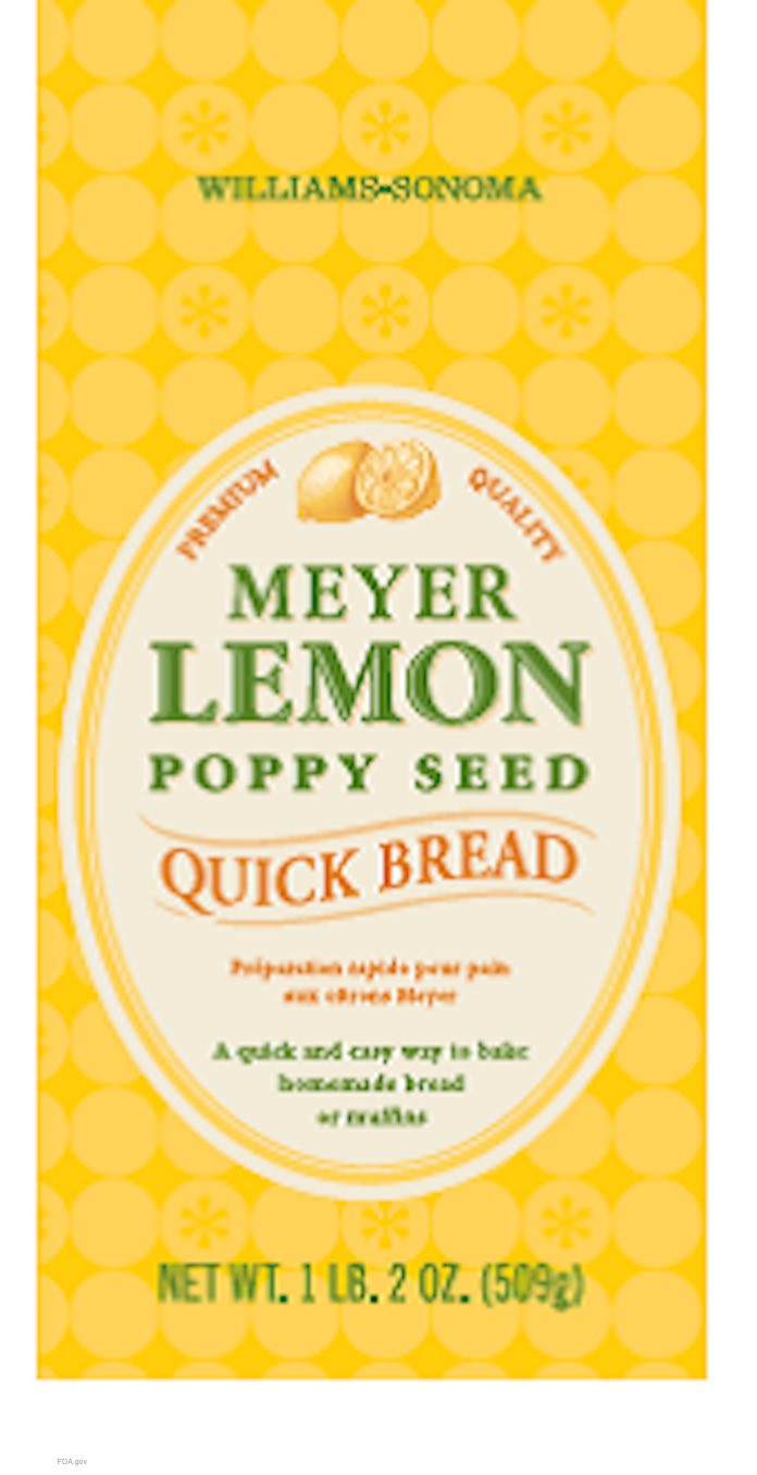 Williams Sonoma Meyer Lemon Quick Bread Recall