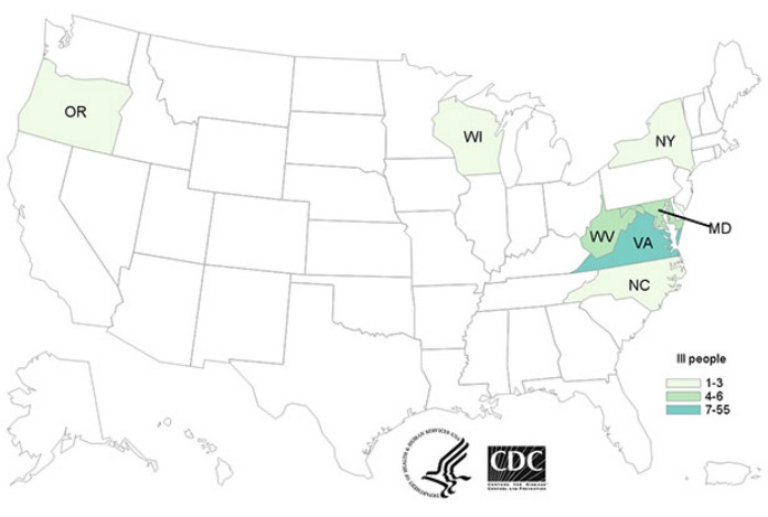 The CDC' s Tropical Smoothie Cafe Hepatitis A Outbreak Map 9/1/16