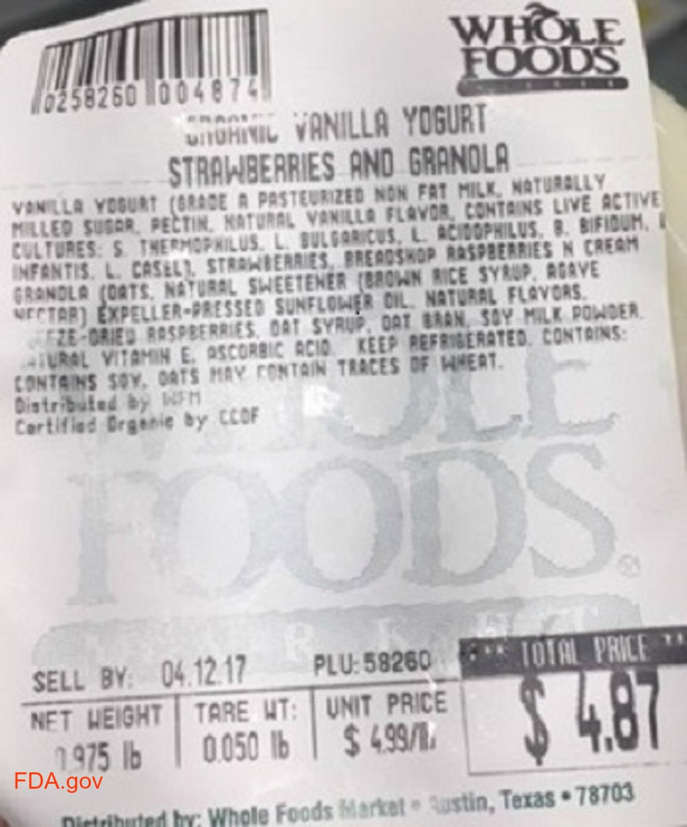Whole Foods Parfait Recall